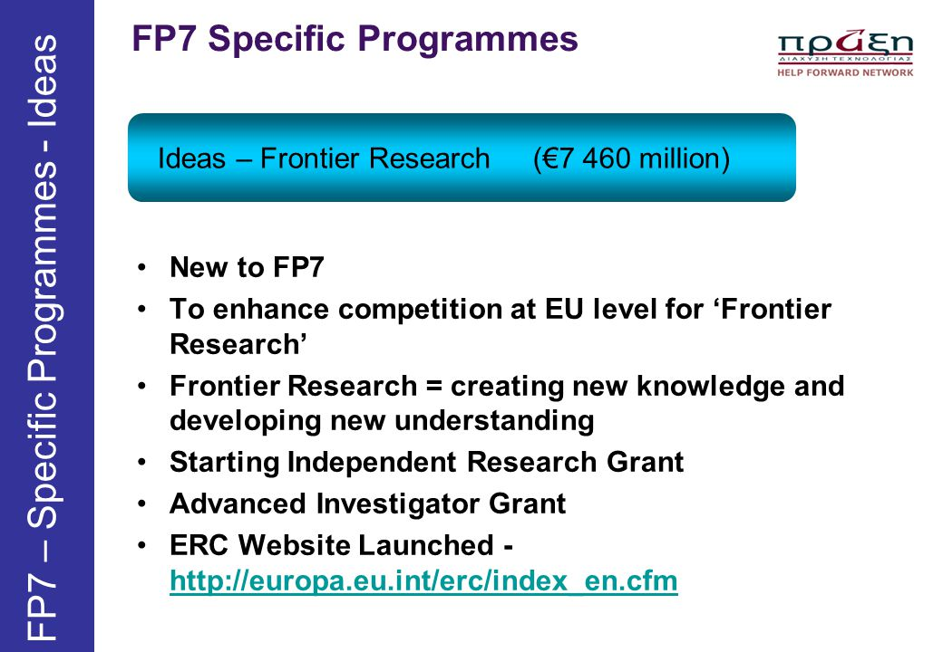 FP7 – Specific Programmes - Ideas
