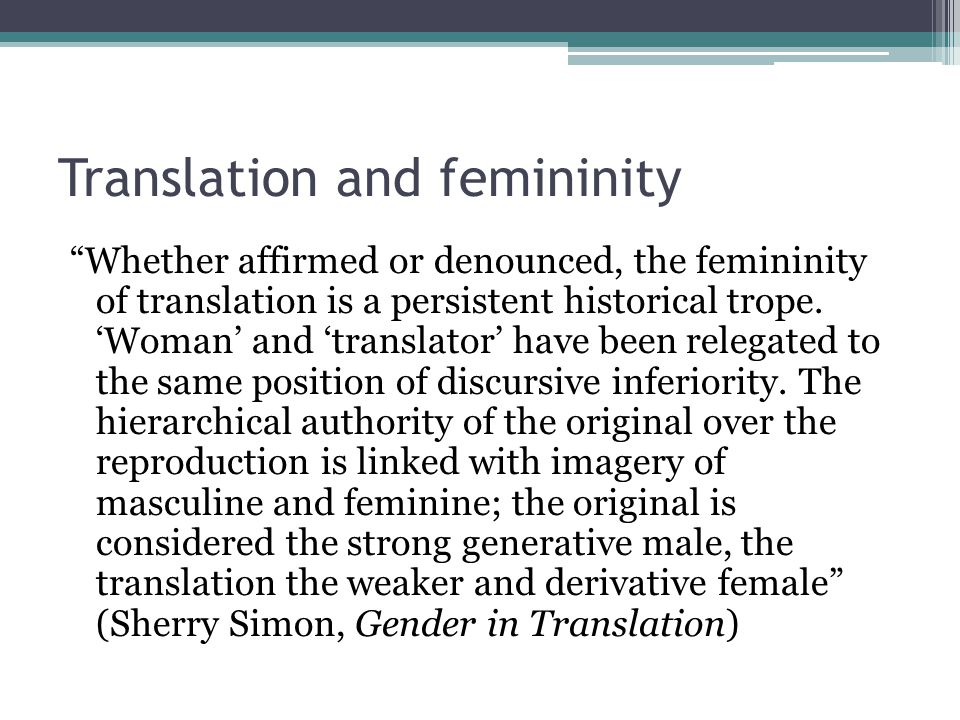 Translation and femininity