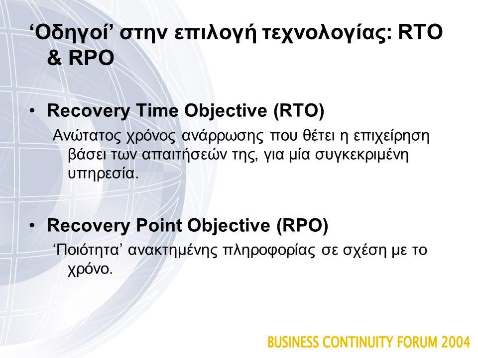 'Οδηγοί' στην επιλογή τεχνολογίας: RTO & RPO