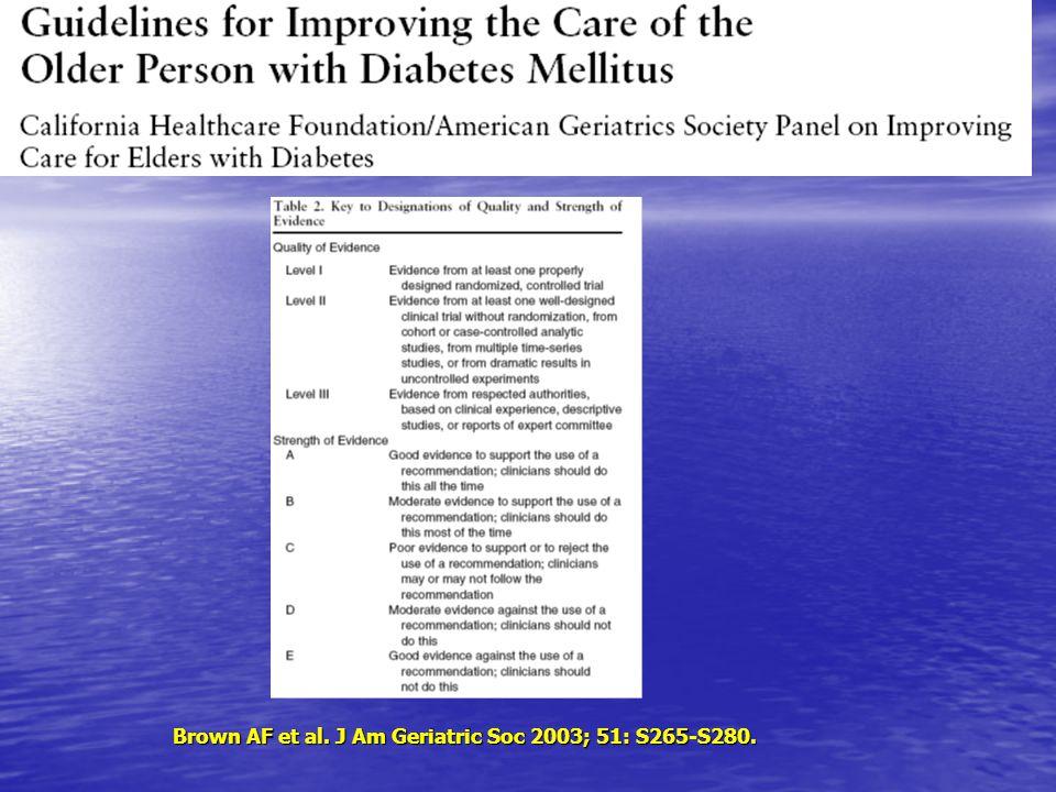 Brown AF et al. J Am Geriatric Soc 2003; 51: S265-S280.