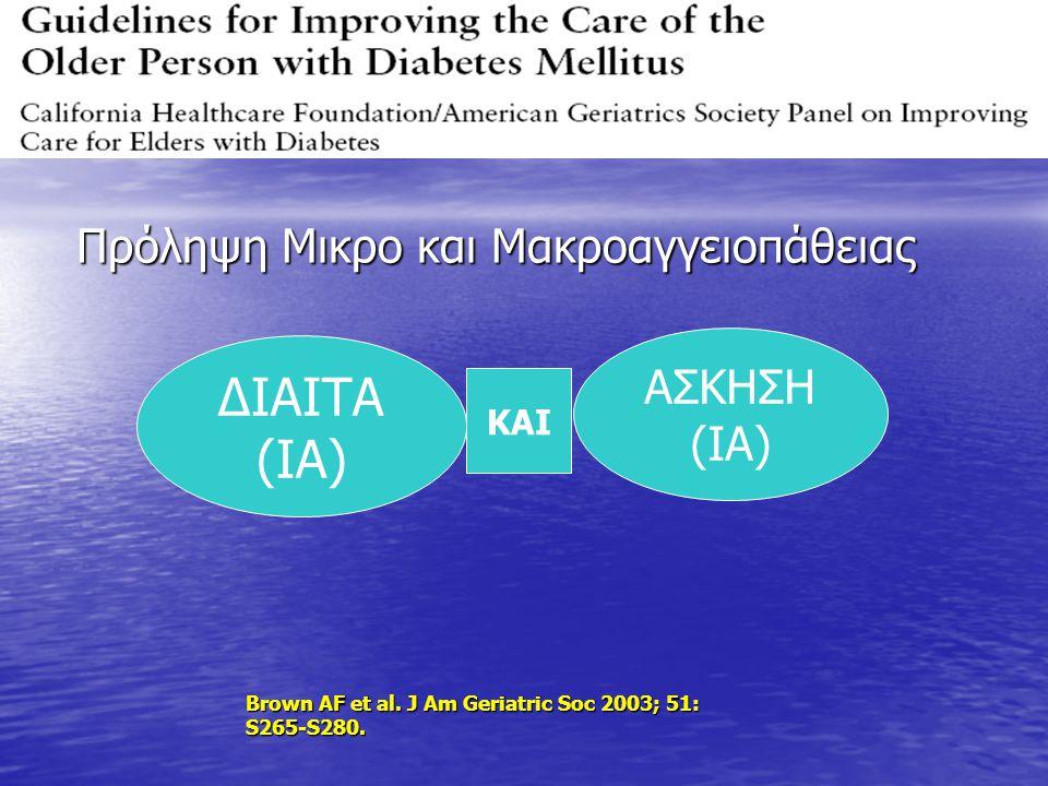 ΔΙΑΙΤΑ (ΙΑ) ΑΣΚΗΣΗ (ΙΑ) ΚΑΙ Πρόληψη Μικρο και Μακροαγγειοπάθειας