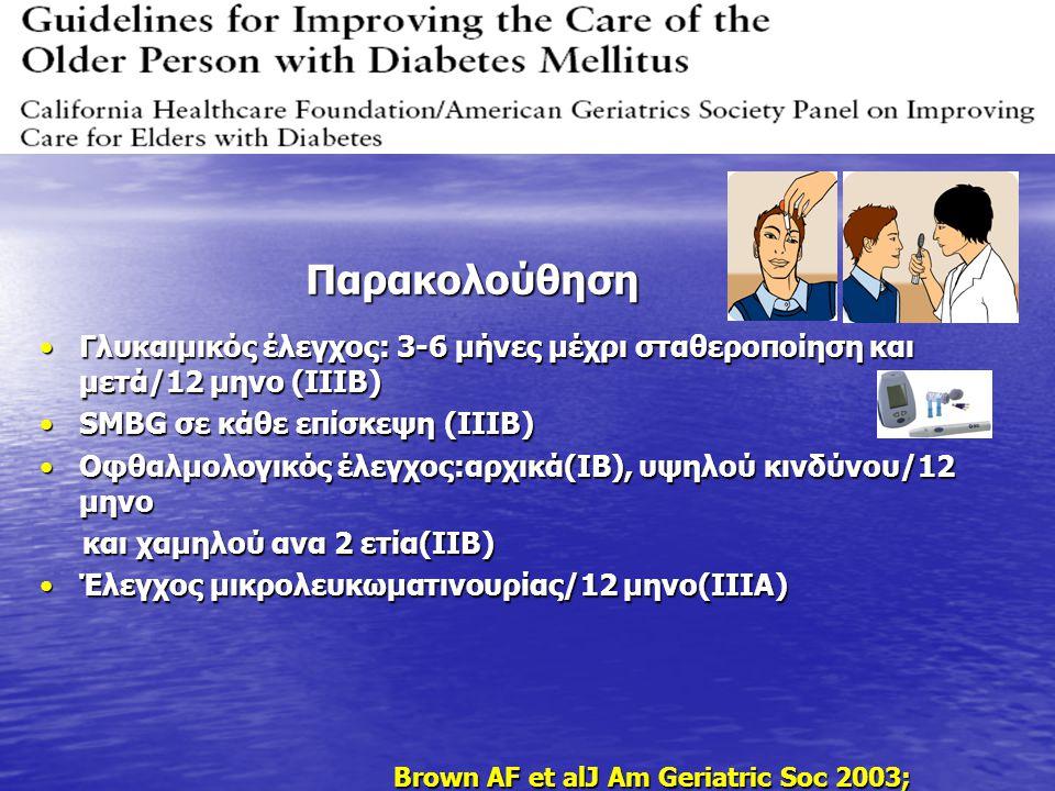 Γλυκαιμικός έλεγχος: 3-6 μήνες μέχρι σταθεροποίηση και μετά/12 μηνο (IIIB)