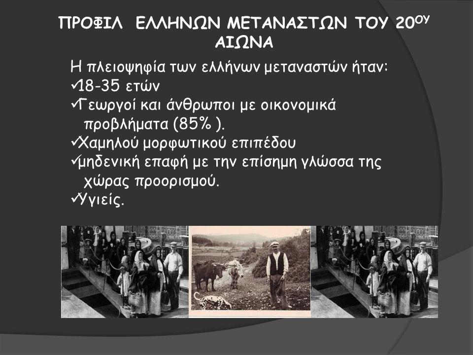 ΠΡΟΦΙΛ ΕΛΛΗΝΩΝ ΜΕΤΑΝΑΣΤΩΝ ΤΟΥ 20ΟΥ ΑΙΩΝΑ