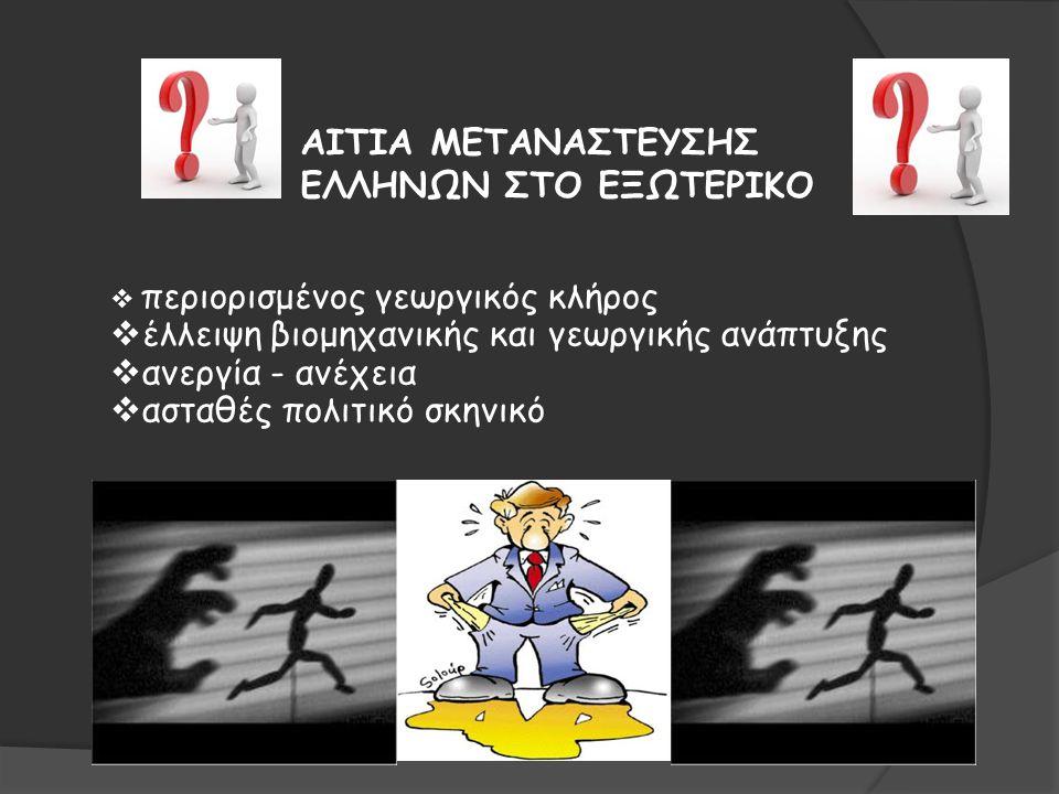 ΑΙΤΙΑ ΜΕΤΑΝΑΣΤΕΥΣΗΣ ΕΛΛΗΝΩΝ ΣΤΟ ΕΞΩΤΕΡΙΚΟ