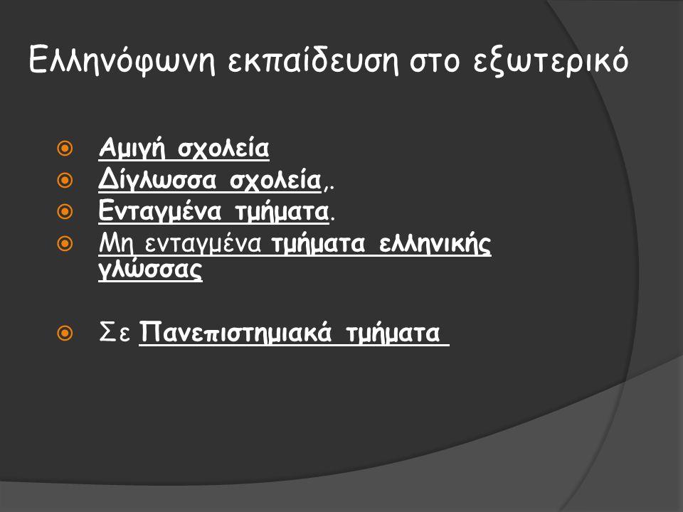 Ελληνόφωνη εκπαίδευση στο εξωτερικό