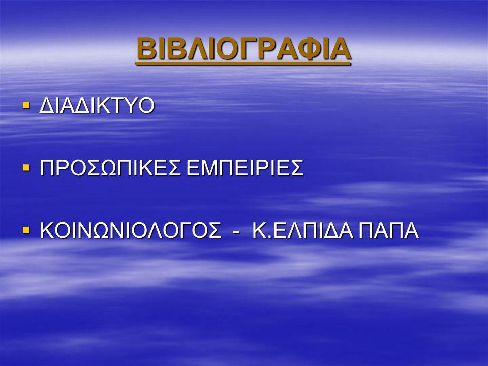 ΒΙΒΛΙΟΓΡΑΦΙΑ ΔΙΑΔΙΚΤΥΟ ΠΡΟΣΩΠΙΚΕΣ ΕΜΠΕΙΡΙΕΣ