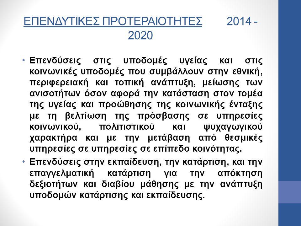 ΕΠΕΝΔΥΤΙΚΕΣ ΠΡΟΤΕΡΑΙΟΤΗΤΕΣ 2014 -2020