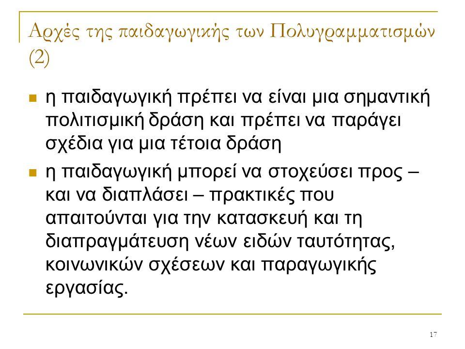 Αρχές της παιδαγωγικής των Πολυγραμματισμών (2)