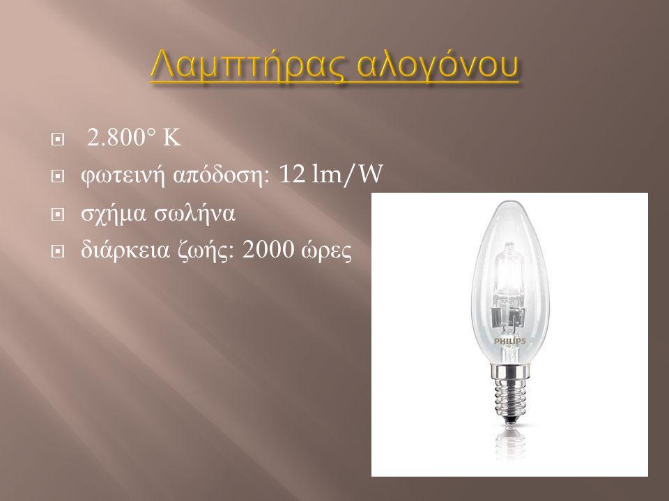 Λαμπτήρας αλογόνου 2.800° Κ φωτεινή απόδοση: 12 lm/W σχήμα σωλήνα