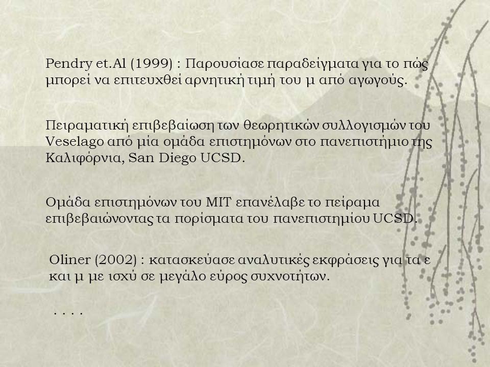 Pendry et.Al (1999) : Παρουσίασε παραδείγματα για το πώς μπορεί να επιτευχθεί αρνητική τιμή του μ από αγωγούς.