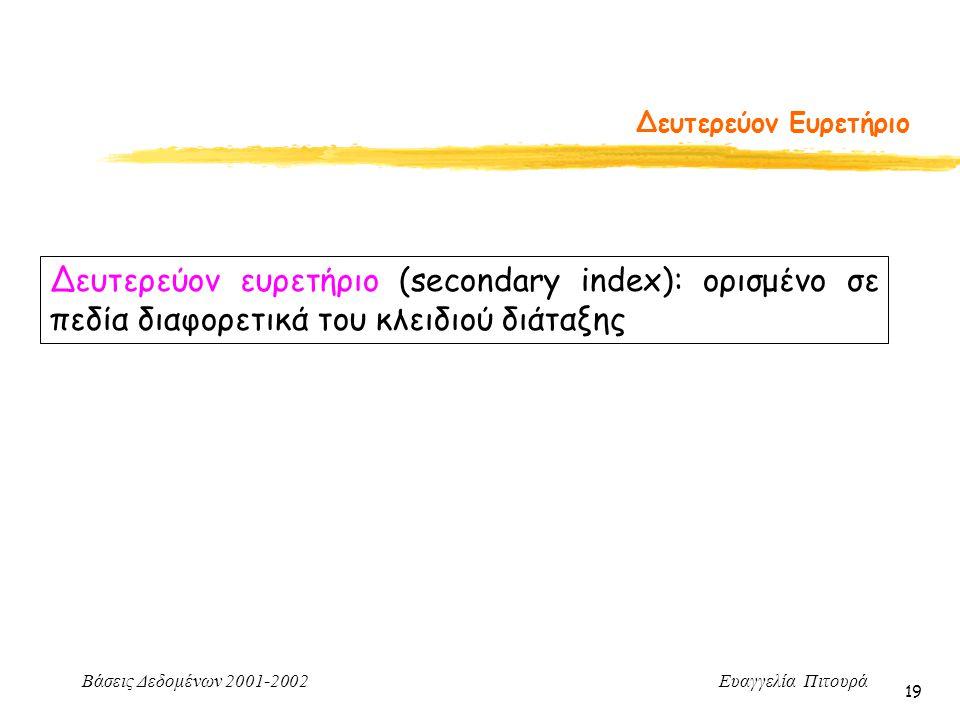 Δευτερεύον Ευρετήριο Δευτερεύον ευρετήριο (secondary index): ορισμένο σε πεδία διαφορετικά του κλειδιού διάταξης.