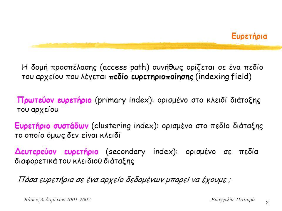 Ευρετήρια Η δομή προσπέλασης (access path) συνήθως ορίζεται σε ένα πεδίο του αρχείου που λέγεται πεδίο ευρετηριοποίησης (indexing field)