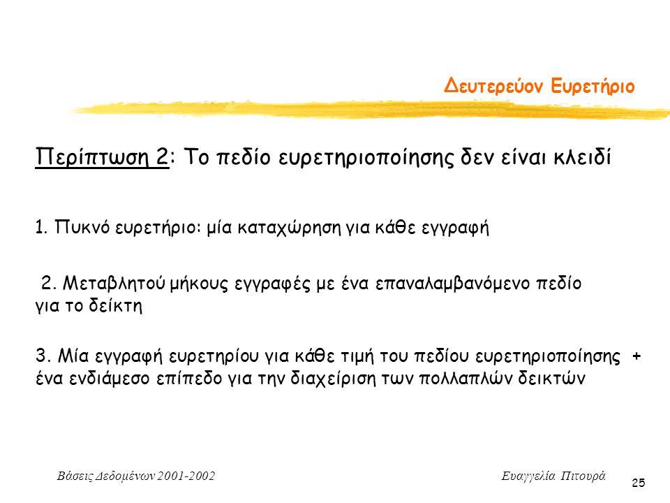 Περίπτωση 2: Το πεδίο ευρετηριοποίησης δεν είναι κλειδί