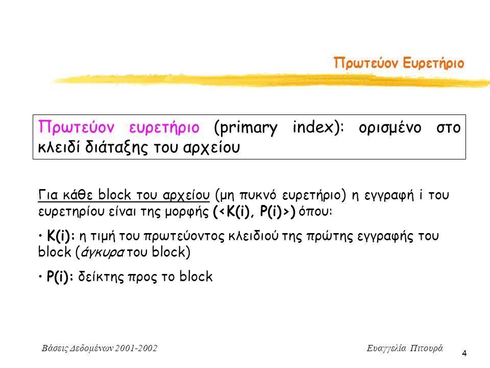 Πρωτεύον Ευρετήριο Πρωτεύον ευρετήριο (primary index): ορισμένο στο κλειδί διάταξης του αρχείου.