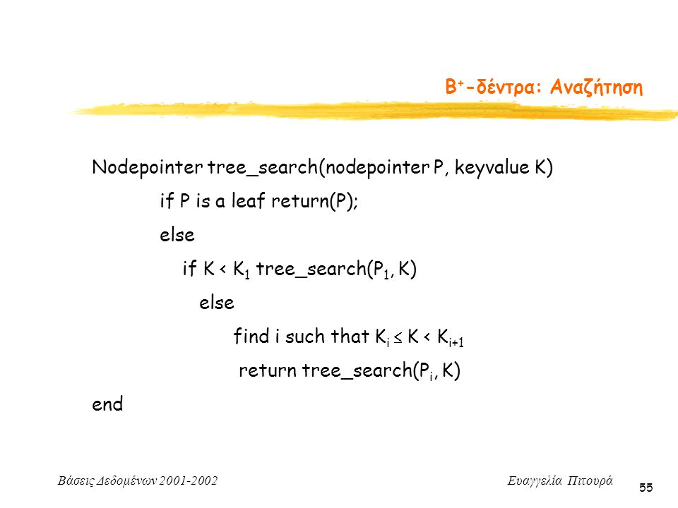 Β+-δέντρα: Αναζήτηση Nodepointer tree_search(nodepointer P, keyvalue K) if P is a leaf return(P); else.