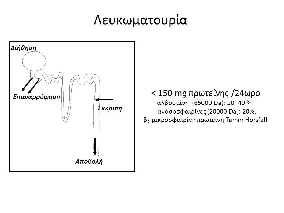 Λευκωματουρία < 150 mg πρωτεΐνης /24ωρο Διήθηση