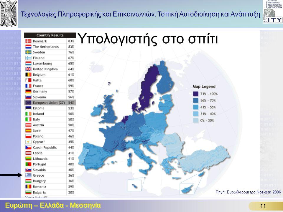 Υπολογιστής στο σπίτι Ευρώπη – Ελλάδα - Μεσσηνία