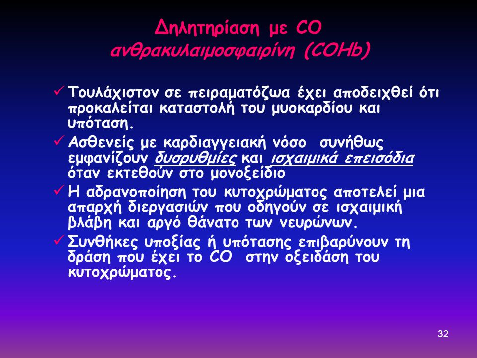 Δηλητηρίαση με CO ανθρακυλαιμοσφαιρίνη (COHb)