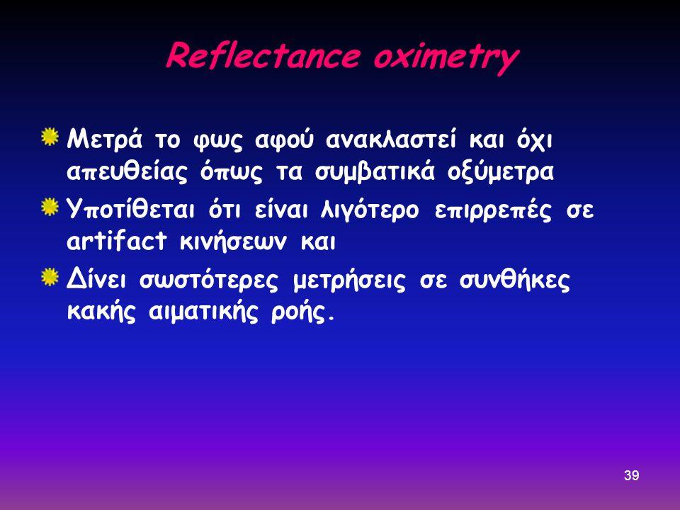 Reflectance oximetry Μετρά το φως αφού ανακλαστεί και όχι απευθείας όπως τα συμβατικά οξύμετρα.