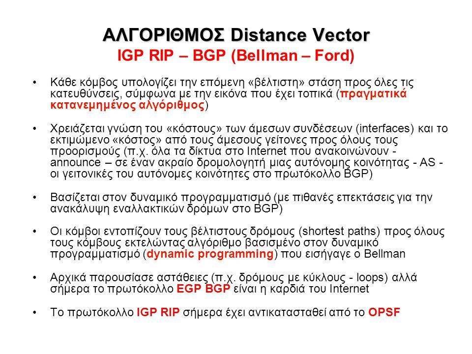 ΑΛΓΟΡΙΘΜΟΣ Distance Vector IGP RIP – BGP (Bellman – Ford)