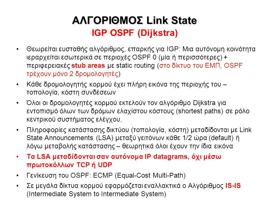 ΑΛΓΟΡΙΘΜΟΣ Link State IGP OSPF (Dijkstra)