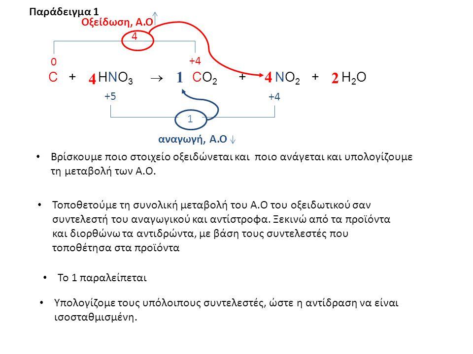 4 4 1 2 Παράδειγμα 1 Οξείδωση, Α.Ο 4 +4 C + HNO3  CO2 + NO2 + H2O +5