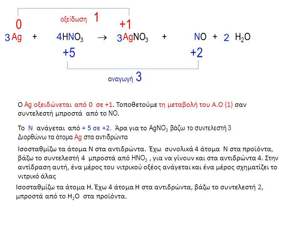 οξείδωση 1 +1 +5 +2 αναγωγή 3 3 Αg + HNO3  AgNO3 + NO + H2O 4 3 2