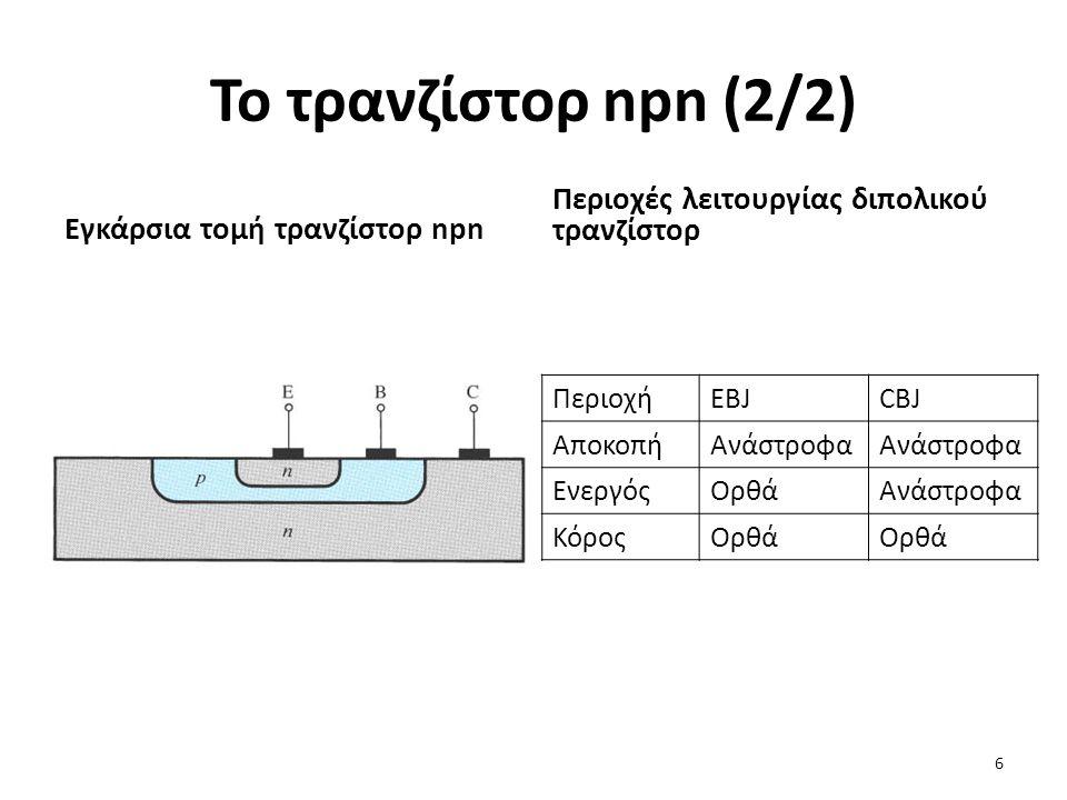 Το τρανζίστορ npn (2/2) Περιοχές λειτουργίας διπολικού τρανζίστορ