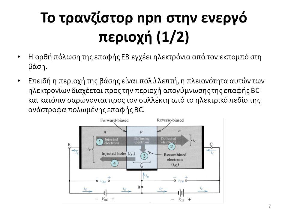 Το τρανζίστορ npn στην ενεργό περιοχή (1/2)