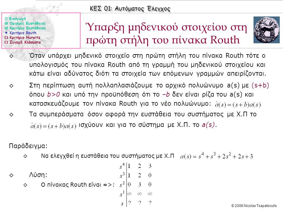 Ύπαρξη μηδενικού στοιχείου στη πρώτη στήλη του πίνακα Routh