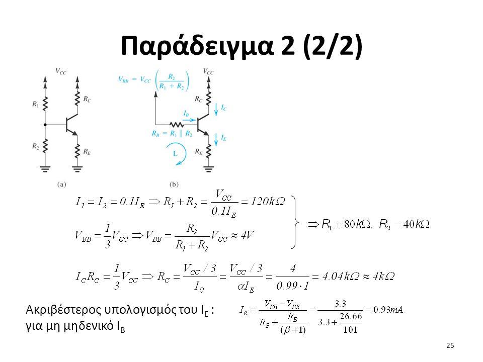 Παράδειγμα 2 (2/2) Ακριβέστερος υπολογισμός του ΙΕ : για μη μηδενικό ΙΒ