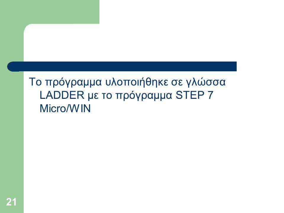 Το πρόγραμμα υλοποιήθηκε σε γλώσσα LADDER με το πρόγραμμα STEP 7 Micro/WIN