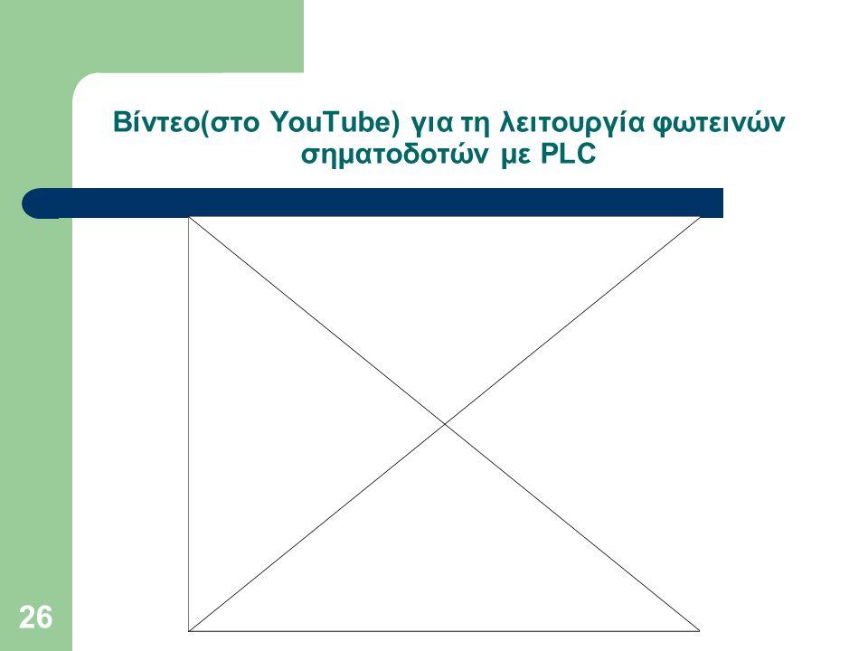 Βίντεο(στο YouTube) για τη λειτουργία φωτεινών σηματοδοτών με PLC