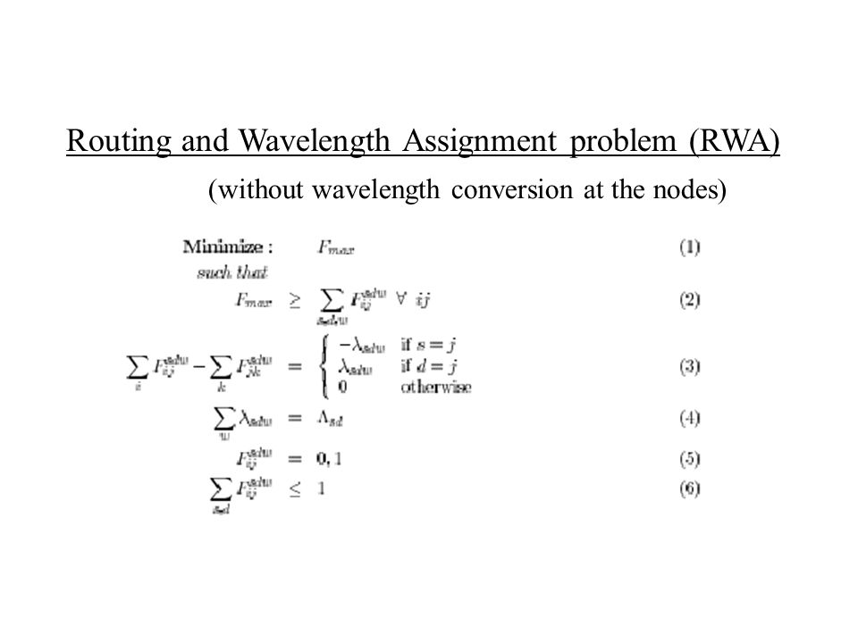 Routing and Wavelength Assignment problem (RWA)