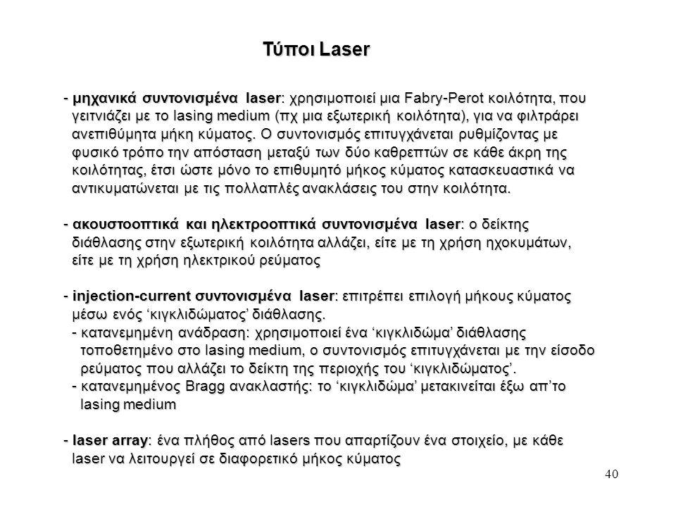 Τύποι Laser μηχανικά συντονισμένα laser: χρησιμοποιεί μια Fabry-Perot κοιλότητα, που.