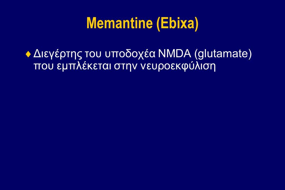 Memantine (Ebixa) Διεγέρτης του υποδοχέα NMDA (glutamate) που εμπλέκεται στην νευροεκφύλιση