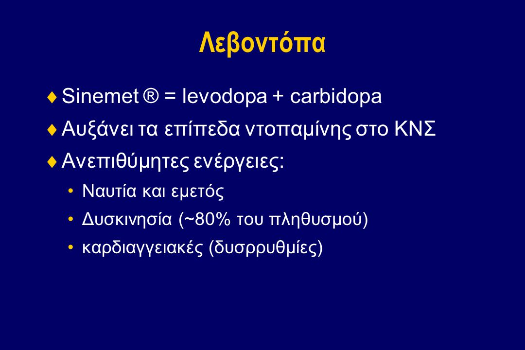 Λεβοντόπα Sinemet ® = levodopa + carbidopa