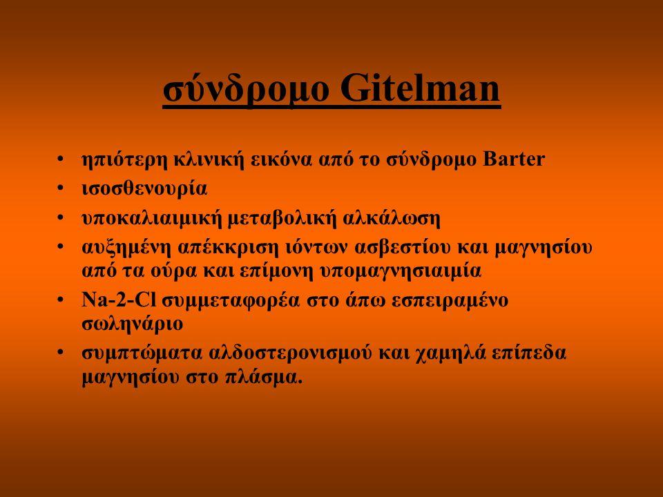 σύνδρομο Gitelman ηπιότερη κλινική εικόνα από το σύνδρομο Barter