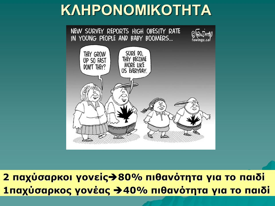 ΚΛΗΡΟΝΟΜΙΚΟΤΗΤΑ 2 παχύσαρκοι γονείς80% πιθανότητα για το παιδί