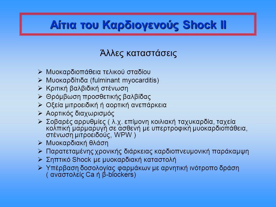 Αίτια του Καρδιογενούς Shock II