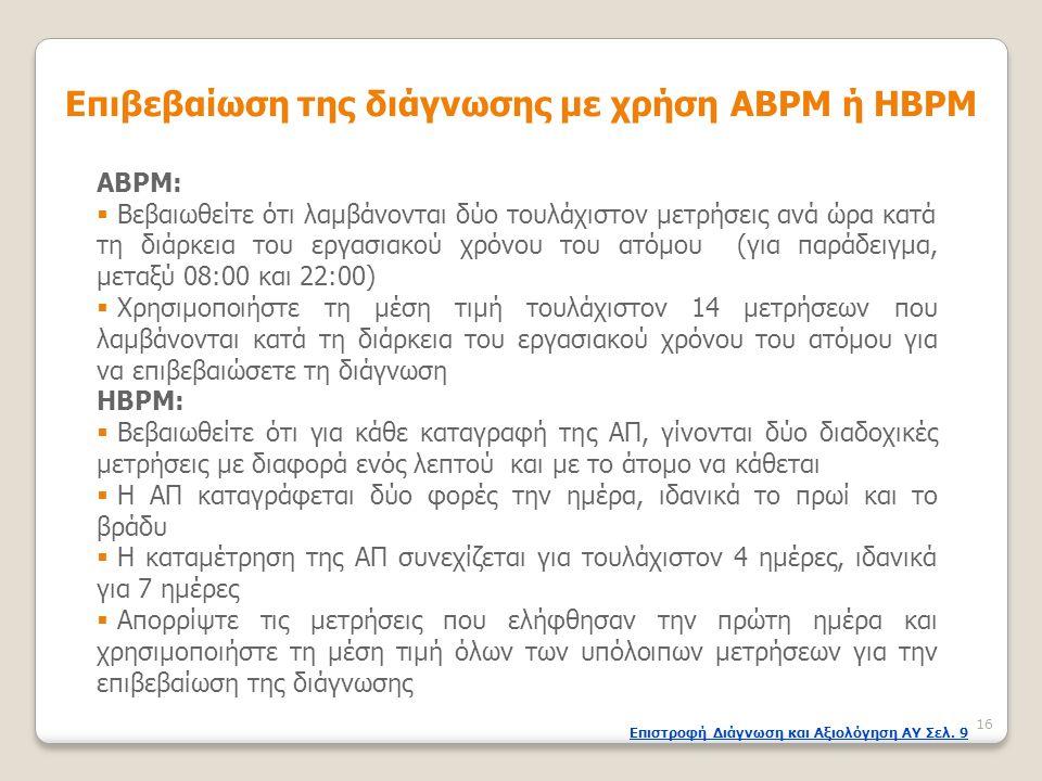 Επιβεβαίωση της διάγνωσης με χρήση ΑBPM ή HBPM