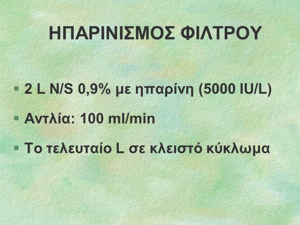 ΗΠΑΡΙΝΙΣΜΟΣ ΦΙΛΤΡΟΥ 2 L Ν/S 0,9% με ηπαρίνη (5000 IU/L)
