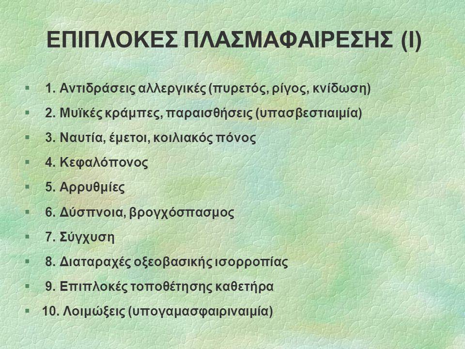 ΕΠΙΠΛΟΚΕΣ ΠΛΑΣΜΑΦΑΙΡΕΣΗΣ (Ι)