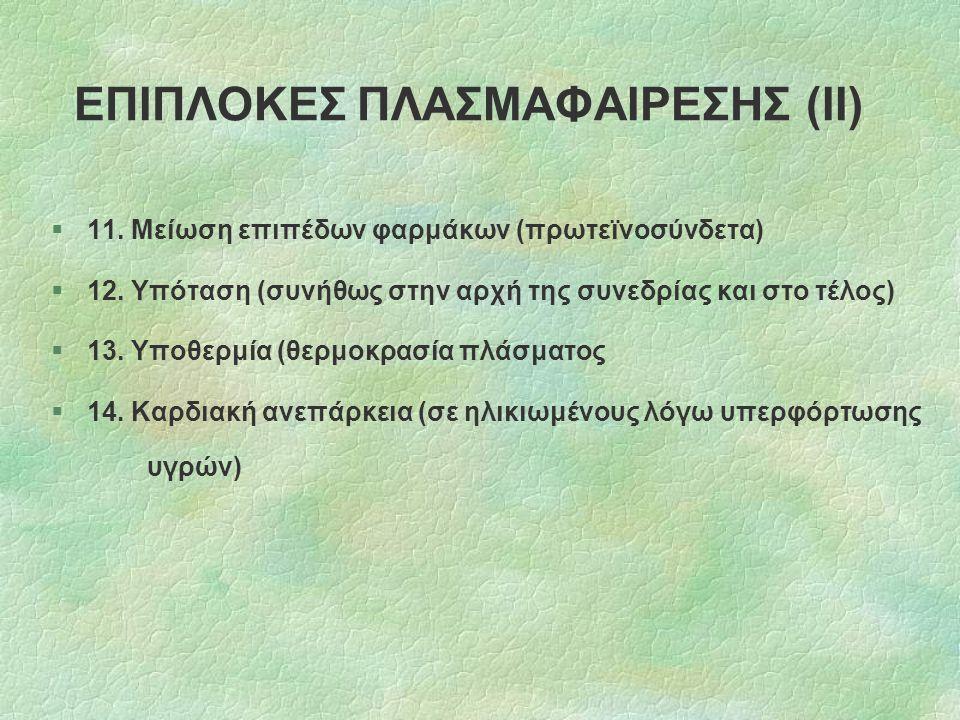 ΕΠΙΠΛΟΚΕΣ ΠΛΑΣΜΑΦΑΙΡΕΣΗΣ (ΙΙ)