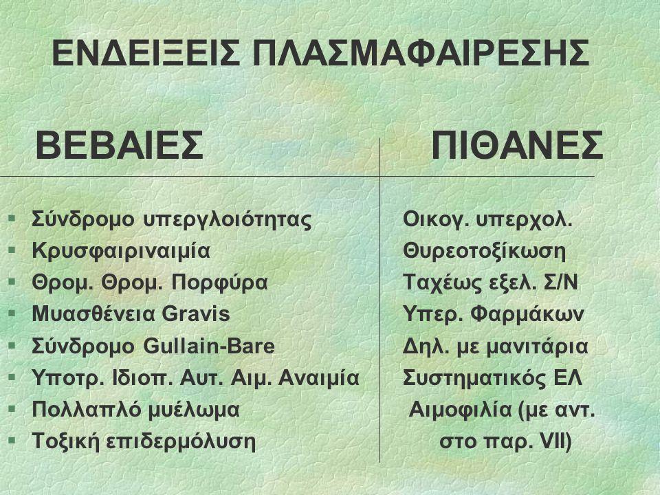 ΕΝΔΕΙΞΕΙΣ ΠΛΑΣΜΑΦΑΙΡΕΣΗΣ