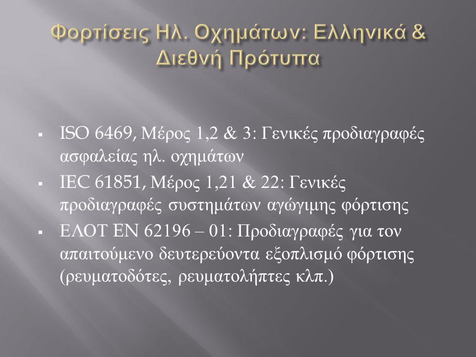 Φορτίσεις Ηλ. Οχημάτων: Ελληνικά & Διεθνή Πρότυπα