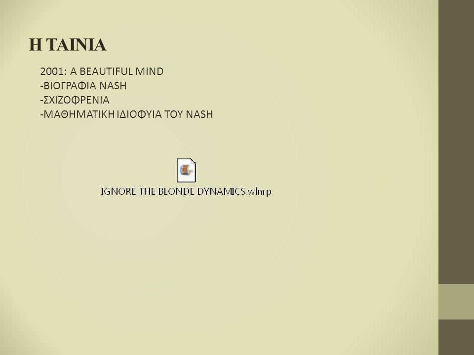 H TAINIA 2001: A BEAUTIFUL MIND -ΒΙΟΓΡΑΦΙΑ NASH -ΣΧΙΖΟΦΡΕΝΙΑ