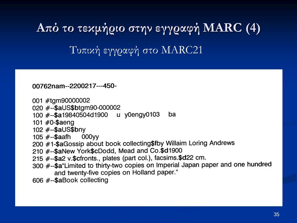 Από το τεκμήριο στην εγγραφή MARC (4)