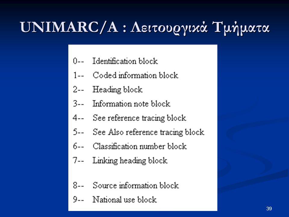 UNIMARC/A : Λειτουργικά Τμήματα