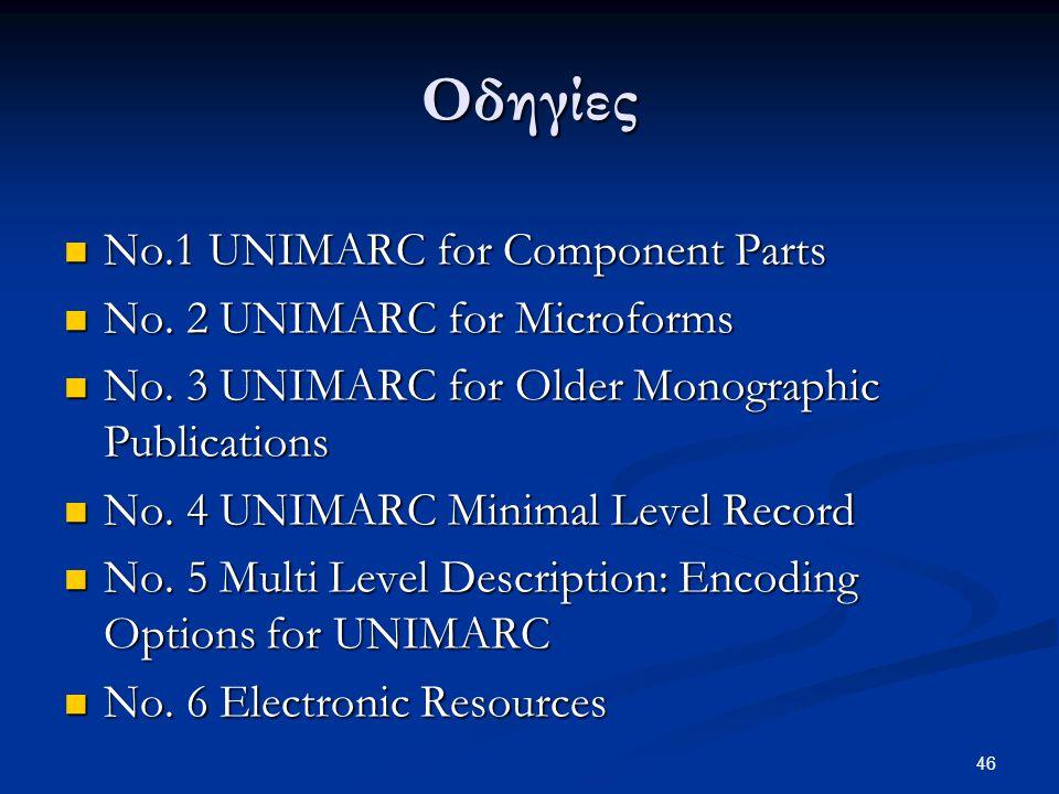 Οδηγίες No.1 UNIMARC for Component Parts No. 2 UNIMARC for Microforms
